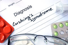 Diagnostic form with diagnosis Cushings syndrome. Royalty Free Stock Photography