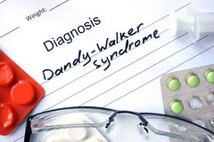 Diagnostic form with diagnosis Dandy-Walker syndrome. Diagnostic form with diagnosis Dandy-Walker syndrome and pills royalty free stock photo