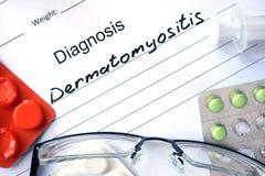 Diagnostic form with diagnosis   Dermatomyositis. Stock Image