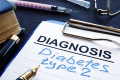 Diagnostic form with diagnosis diabetes type 2. royalty free stock photos