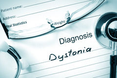 Diagnostic form with diagnosis Dystonia. Stock Photos