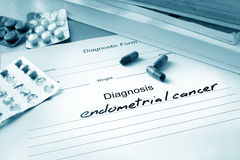 Diagnostic form with diagnosis endometrial cancer. And pills stock photo