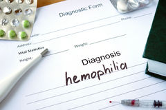 Diagnostic form with Diagnosis hemophilia. Diagnostic form with Diagnosis hemophilia and pills stock image