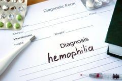 Diagnostic form with Diagnosis hemophilia. Diagnostic form with Diagnosis hemophilia  and pills Stock Image