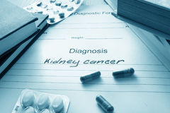 Diagnostic form with diagnosis kidney cancer. Royalty Free Stock Photo