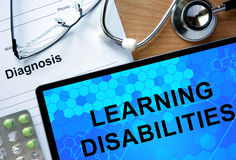 Diagnostic form with diagnosis Learning disabilities. Stock Photos