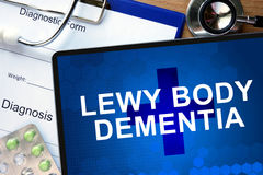 Diagnostic form with diagnosis Lewy body dementia. Diagnostic form with diagnosis Lewy body dementia and pills Stock Photo
