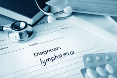 Diagnostic form with diagnosis  lymphoma. Stock Photos