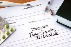 Diagnostic form with diagnosis Tay–Sachs disease. Stock Photography