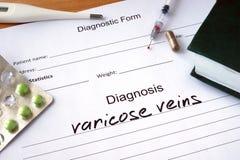 Diagnostic form with diagnosis varicose veins. Diagnostic form with diagnosis varicose veins and pills stock photos