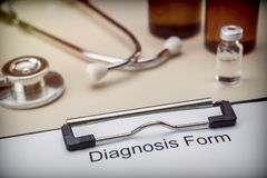 Diagnostic form in hospital. Conceptual image stock photography