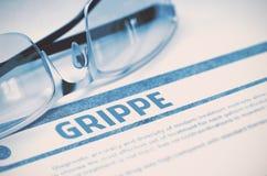 Diagnostic - Grippe stéthoscope réglé d'argent de médecine de mensonges de concept illustration 3D Photos libres de droits