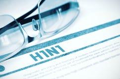Diagnostic - H1N1 stéthoscope réglé d'argent de médecine de mensonges de concept illustration 3D Image libre de droits