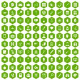 100 diagnostic icons hexagon green Stock Photo