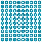 100 diagnostic icons sapphirine violet. 100 diagnostic icons set in sapphirine hexagon isolated vector illustration royalty free illustration