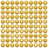 100 diagnostic icons set gold. 100 diagnostic icons set in gold circle isolated on white vectr illustration Royalty Free Stock Photos