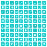 100 diagnostic icons set grunge blue Stock Image