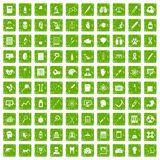 100 diagnostic icons set grunge green Stock Photos