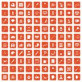 100 diagnostic icons set grunge orange. 100 diagnostic icons set in grunge style orange color isolated on white background vector illustration Stock Photo