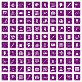 100 diagnostic icons set grunge purple. 100 diagnostic icons set in grunge style purple color isolated on white background vector illustration Royalty Free Stock Image