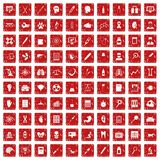 100 diagnostic icons set grunge red. 100 diagnostic icons set in grunge style red color isolated on white background vector illustration vector illustration