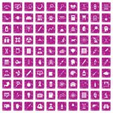 100 diagnostic icons set grunge pink. 100 diagnostic icons set in grunge style pink color isolated on white background vector illustration Stock Illustration
