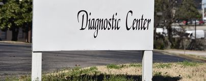 Diagnostic Imaging Radiography Center. Diagnostic Imaging/Routine Radiography - Uses a small amount of radiation to create X-ray images of bones and organs royalty free stock photo