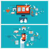 Diagnostic médical et traitement en ligne Photos stock