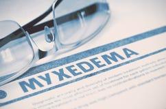 Diagnostic - Myxedema stéthoscope réglé d'argent de médecine de mensonges de concept illustration 3D Image stock