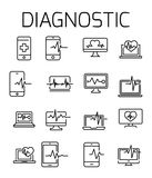 Diagnostic related vector icon set. Well-crafted sign in thin line style with editable stroke. Vector symbols isolated on a white background. Simple pictograms Stock Photos