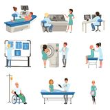 Diagnostic and treatment of cancer set, doctors, patients and equipment for oncology medicine vector Illustrations. On a white background stock illustration