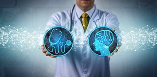 Diagnostician Combining AI App and Diagnostics. Unrecognizable diagnostician bringing together an AI app and diagnostics. Health care and technology concept for royalty free stock images