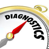 Diagnostics Compass Tool Help Find Solution Problem. Diagnostics word on a compass to illustrate using a tool to find a solution to a problem and directing you Stock Image