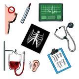 Diagnostics et icônes d'examen médical Photos stock