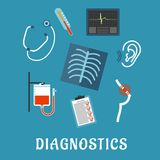 Diagnostics and medical test flat icons Stock Image