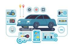 Diagnostics service of cars at auto station vector illustration