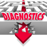 Diagnostics Word Maze Arrow Break Through Power Data Diagnosis Royalty Free Stock Image