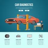 Diagnostik för mekanikerdanandebil vektor illustrationer