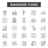 Diagnostique la línea iconos, muestras, sistema del vector, concepto del ejemplo del esquema libre illustration