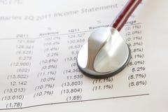 Diagnostiquez le rapport des revenus des résultats d'une compagnie images stock