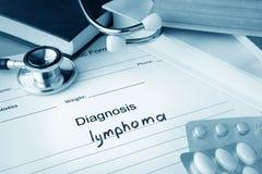 Diagnostisk form med diagnoslymfkörtelcancer arkivfoton