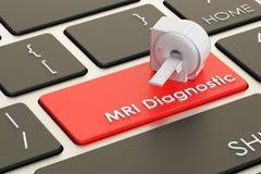 Diagnostiskt begrepp för MRI på tangentbordknappen, tolkning 3D stock illustrationer