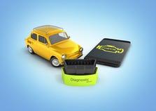 Diagnostiskt begreppsslut för bil upp av den trådlösa bildläsaren OBD2 med smartphonen och den retro bilen på blå illustrat royaltyfri illustrationer