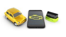 Diagnostiskt begreppsslut för bil upp av den trådlösa bildläsaren OBD2 med smartphonen och den retro bilen på den vita illustrati vektor illustrationer