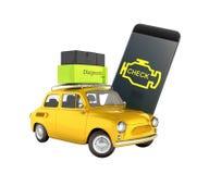 Diagnostiskt begreppsslut för bil upp av den trådlösa bildläsaren OBD2 med smartphonen och den retro bilen på den vita illustrati royaltyfri illustrationer