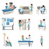 Diagnostyk i traktowanie nowotworu set, lekarki, pacjenci i wyposażenie dla onkologii medycyny wektoru ilustracj, ilustracji