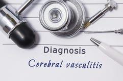 Diagnoza Cerebralny Vasculitis Lekarza medycynego oświadczenie z diagnozy Cerebralnym Vasculitis jest na neurolog miejsce pracy k zdjęcia stock