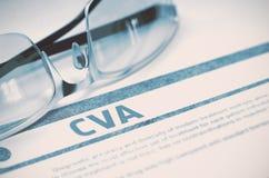 Diagnoza - CVA pojęcie kłama medycyny pieniądze ustalonego stetoskop ilustracja 3 d zdjęcie stock