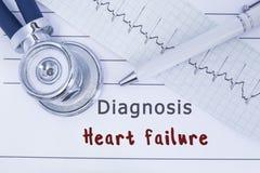 Diagnozy niewydolność serca Stetoskop lub fonendoskop wraz z typ ECG kłamstwo na medycznej historii z tytułowym diagnozy sercem Obrazy Stock
