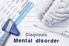 Diagnozy zaburzenia psychiczne Medyczna psychiatra opinia z pisać psychiatryczną diagnozą zaburzenia psychiczne, kwestionariuszu  zdjęcie royalty free